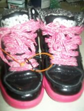 """GUC """"OSIRIS"""" GIRL'S SKATE SHOES KIDS SIZE 2 BLACK LEATHER UPPER/PINK SOLES LOOK"""