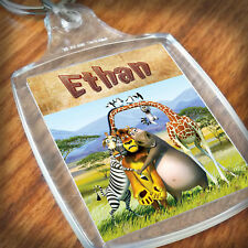 Personalised MADAGASCAR KEYRING, Lunch Bag, son daughter grandson grandaughter