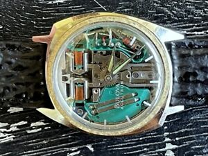 1975 BULOVA ACCUTRON SPACEVIEW 214 STAINLESS STEEL GOLD BEZEL ORIGINAL SERVICED