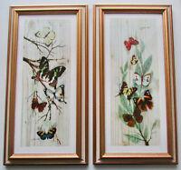 Pair Butterfly Decor Wall Art Framed Picture Prints Artist Signed Gallarda