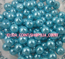 Z003G lake blue Glass Pearl Round Spacer Loose Beads 4/6/8/10mm DIY Wholesale