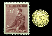 Authentic German WW2 Stamp & Antique 5 Pf Brass Coin - Historical Artifact