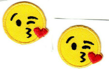"""SET OF 2 EMOJIS HEART KISS ON CHEEK 1""""  IRON ON OR STICK ON PATCH"""