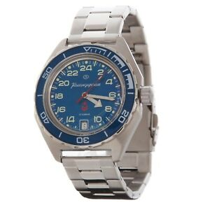 Vostok Komandirskie 650547 Watch Russian Military Automatic Blue 24 Hours
