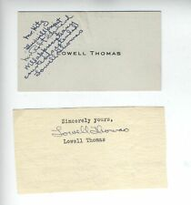 American writer actor LAWRENCE OF ARABIA LOWELL THOMAS AUTOGRAPH SIGNED CARDS X2