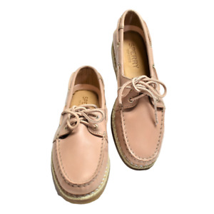 Sperry Top-Sider Women AO Braided Jute 7 37.5 Lace-Up Boat Shoes Leather NEW