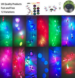 Solar Powered LED Light Color Changing Wind Chime Outdoor Garden Hanging Decor