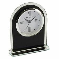 Stylish Arched Black Glass Mantel Clock with Modern Clockface