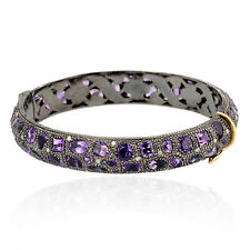 Pave Diamond Amethyst 18k Gold Bangle Bracelet Sterling Silver Wedding Jewelry