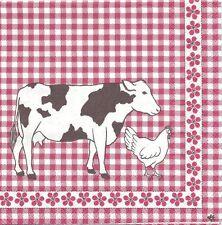2 Serviettes en papier Vache hollandaise Vichy rouge - Paper Napkins Dutch Cow