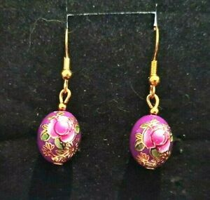 Earrings Faberge Egg Type Vintage Floral Choice Of Hooks 925 Silver Two Colours
