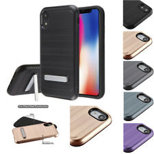 for Apple iPhone XR Metallic Carbon Fiber Kickstand Impact Case Cover+Prytool