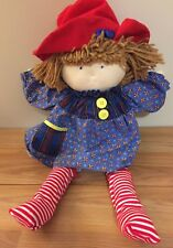 "Eden Doll 19"" soft plush w/red hat & blue dress (like Madeline)"