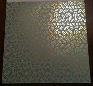 12x12 Mint Gold Foiled Leafs Scrapbooking Paper