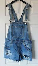 DENIM & CO Blue Distressed Denim Jean Dungaree Shorts Size UK 10 EU 38 US 6