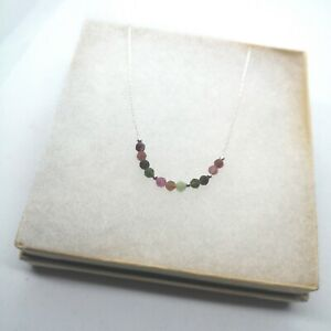 Watermelon Tourmaline  Faceted Sterling Silver Necklace Beaded