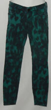 Express Women's Jean's Sz 0 Green & Black Paint Splash Low Rise Casual