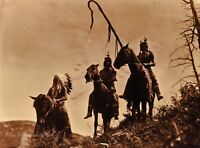 Vintage EDWARD CURTIS American Indian Apsaroke Warriors GOLDTONE Photo Art 12x16
