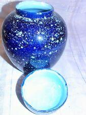 Speckleware Coated Metal Urn Vase Cobalt Blue Ice Speckle Crock Lid Jar Country