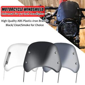 "Motorcycle 5-7"" Round Headlight Windshield Windscreen Universal For Harley Honda"