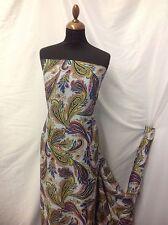 "New Beautiful Italian Silky Crepe De Chine Paisley Print Fabric 42"" 108cm"