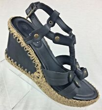 C&h Women's Black Wedge Leather Heels-Shoes size 9 (40 Euro) Rope Accents Sandal