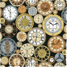 Fat Quarter Clock Faces Victorian Vintage Cotton Quilting Fabric Steampunk