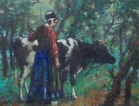 """perfact oil painting handpainted on canvas """"Dutch Girl Driving a Bull""""@N3506"""