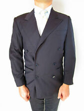 Cerruti 1881 para hombre Vintage 80s Lana Tweed Pecho Doble Gris Blazer Chaqueta talla S AO67