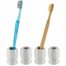mDesign Ceramic Compact Decorative Toothbrush Stand, 4 Pack - Gray