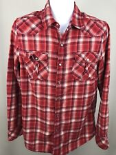 Heritage 1981 Mens Western Pearl Snap Shirt Red Plaid Flannel Size Large. B5