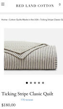 SC Red Land Cotton Ticking Stripe Classic Quilt Cream Charcoal Twin EUC