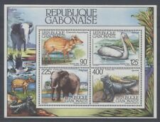 ANIMAUX DIVERS Gabon 1 bloc de 1983 ** ELEPHANT IGUANE PELICAN
