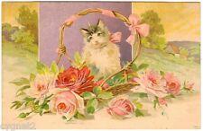 Postcard Sweet Cat In Basket Of Roses Embossed