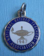 Association Nrta sterling charm Vintage enamel National Retired Teachers