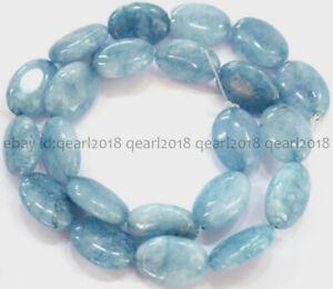 Natural 13x18mm Blue Aquamarine Gemstone Oval Loose Beads 15'' Strand AA