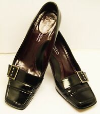 "VIA SPIGA MADE IN ITALY SZ 8.5 M BLACK PATENT LEATHER 3"" PUMPS SHOES GOOD COND."