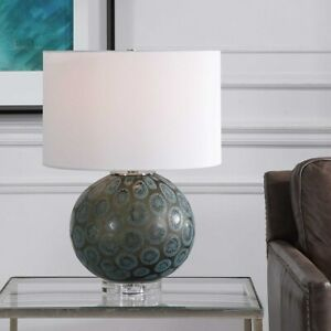 """AGATE SLICE INSPIRED GLASS POLISHED NICKEL 22"""" TABLE LAMP UTTERMOST 28434"""