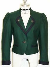 "GREEN BOILED JACKET Coat WOOL Women Austria Short Fitted Dress Suit 38 6 S B37"""