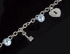 925 ECHT SILBER RHODINIERT *** Perlen blau-grau Armband Armkette Herz Schlüssel