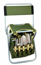 10-piece Gardening Tool Set with Zippered Detachable Tote and Folding Stool Seat