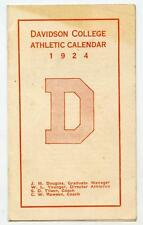1924 DAVIDSON COLLEGE Wildcats Athletic Calendar Football Baseball Basketball NC