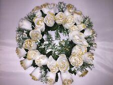 CHRISTMAS WREATH DECORATION/DOOR/TABLE CENTRE XMAS WHITE ROSES & GYPSOPHILA