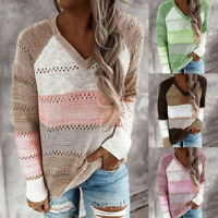 Women Patchwork Colorblock V-Neck Long Sleeve Knitted Sweater Casual Blouse Tops