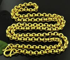 9999 24K Solid  Yellow gold Rolo Chain Handmade Necklace  28 inches 75 grams