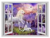 Huge Fantasy Unicorn Island 1 3D Window Art Wall Sticker Vinyl Decal Decor Mural