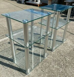 Pair of Glass and Metal End Tables
