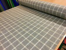 100% WOOL SOFT MUSHROOM GREY CHECK UPHOLSTERY CURTAIN CLOTHING FABRIC MATERIAL
