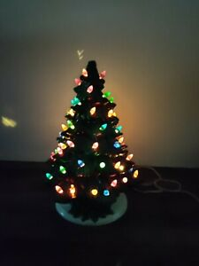"""Vintage 17"""" Lighted Ceramic Tree with Colored Birds and Holly Base"""