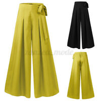 Women High Waist Flare Wide Leg Baggy Pant Culotte Casual Loose Palazzo Trousers